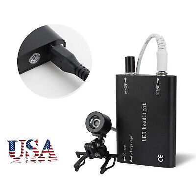 USA Portable Black LED Head Light Lamp With Clip for Dental Surgical Loupes FDA+