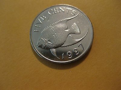 1997 Bermuda coin 5 Cents coin  Queen Angel Fish   Unc Beauty