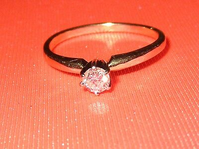 BEAUTIFUL SECONDHAND 14K YELLOW GOLD SOLITAIRE .24ct  DIAMOND RING SIZE O1/2