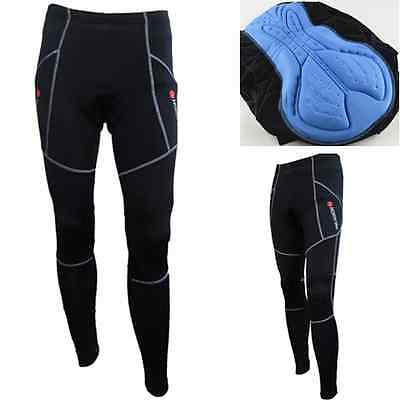 Mens 2.1cm Gel Padded Bike Bicycle Cycling Tights Riding Trousers Long Pants UK