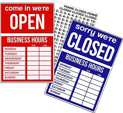 OPEN CLOSED BUSINESS HOURS SIGN Store Window New Retail Store Business Sign