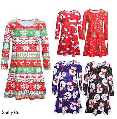 Kids Children Girls XMas Christmas Party Swing Flared Santa Snowman Dress Top