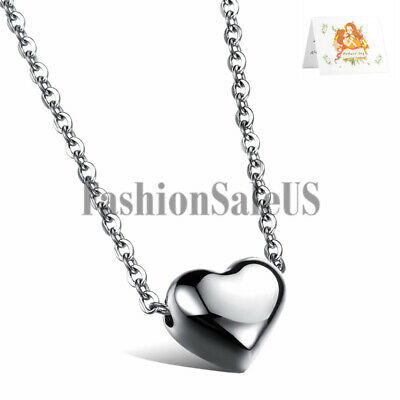Women's Polished Stainless Steel Love Heart Charm Pendant Elegant Necklace Chain