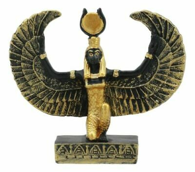 "Ancient Egyptian Decor Miniature 3""H Kneeling Isis Ra With Open Wings Figurine"