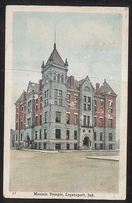 Postcard LOGANSPORT Indiana/IN  Masons Masonic Temple Building view 1907