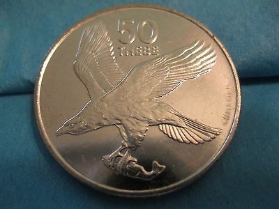 1991 Botswana coin  50 Thebe  African Fish Eagle   unc beauty   nice large coin