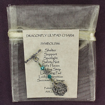 DRAGONFLY LILYPAD TOTEM Amulet Charm Talisman Luck Safety Magick Symbol Card Bag