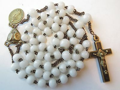 Med 1850's Antique White Opaline Milk Glass Beads Rosary-in Brass Puffed Heart
