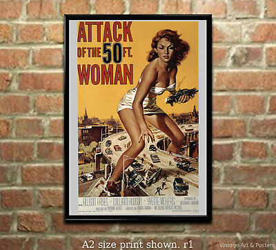Attack of the Fifty Foot Woman -  Vintage Film / Movie Poster Sci-Fi B Movie