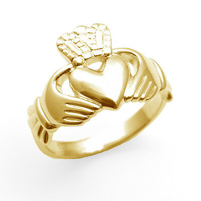 Claddagh Ring 9ct Gold Mens Substantial Ring Large Sizes Available UK Hallmarked