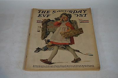 Original 1929 Saturday Evening Post Magazine No Swimming Girl Norman Rockwell
