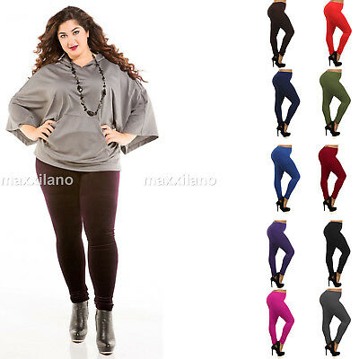 Women's Fleece Lined Leggings Thick Solid Pants Plus Size New