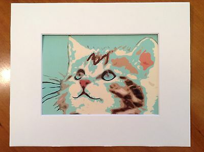 Cat art with 8X10 mat Calico Green Eyes  urban fine art ALSO AVAILABLE AS A CARD