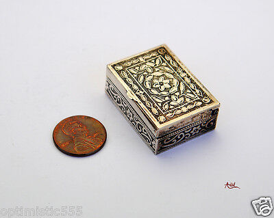 Antique  Sterling Silver Square  Pill Box /25 gr
