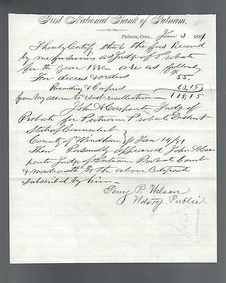 FIRST NATIONAL BANK OF PUTNAM (CT) 1881 Judge Of Probate Fees Certification