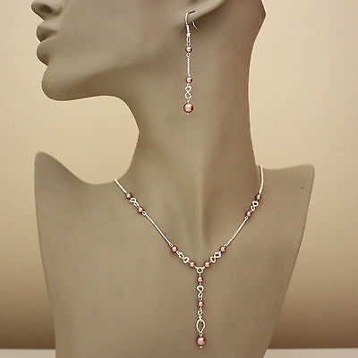 Rose pink pearls silver necklace long earrings wedding bridesmaid jewellery set