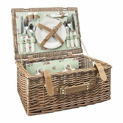 Benzer - Ashley Picnic Basket for 2 Taupe with Rose Mint Floral