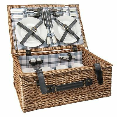 Benzer - Picnic Basket for 4 Natural with Blue Hamshire Check