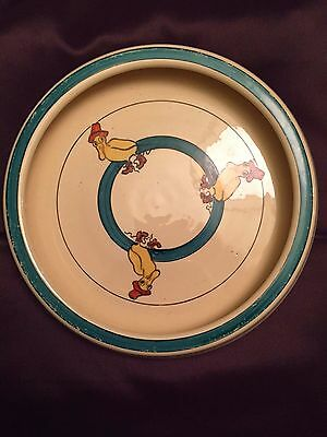 "Roseville Puddle Duck Vintage Baby Dish, 7.75"" With Rolled Edge, Marked"