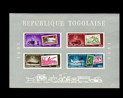 Togo - 1963 - Mail Service - Stamp On Stamp - Train - Aircraft ++ Mint S/sheet!
