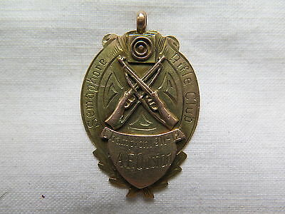 SEMAPHORE RIFLE CLUB CHAMPION 9ct GOLD MEDAL AWARDED to A F OUSTON 1911 - 1912