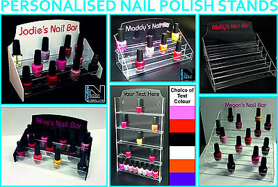 Acrylic Personalised Nail Polish Stand Organiser Various Sizes Style And Colours