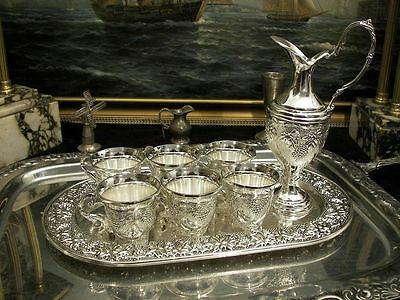 Vintage Silver Plate Set of Jug and 6 Cups Tray Ornate Vodka Liqueur Whiskey