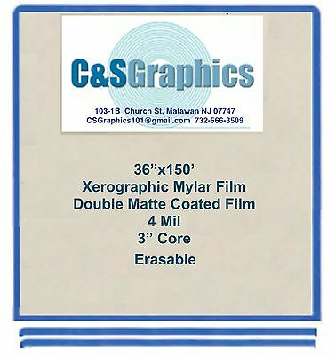 "36""x150' Roll 4 mil Mylar Drafting Film, Double Matte Xerographic Erasable"