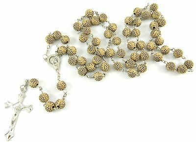 Light Brown Resin Holy Prayer Rosary Bead Necklace with Cross/Crucifix RS-11