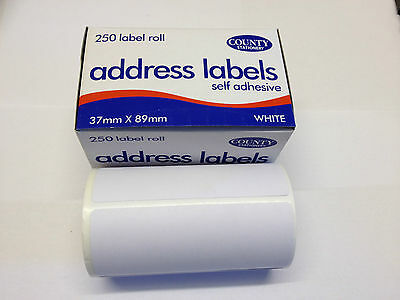 250 Self Adhesive White address Labels Postage Label Roll Sticky Stick County