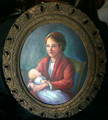 Adorable Mother And Child Painting Oval Canvas Antique Frame Baby + Mom Art
