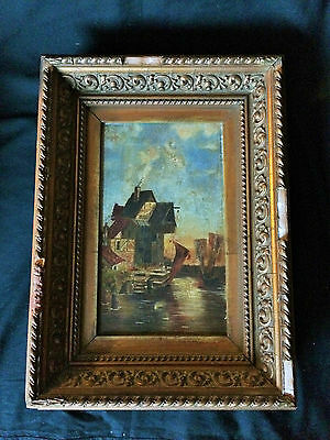 Beautiful Antique English Oil Painting Canal Scene Fishing Buildings Landscape