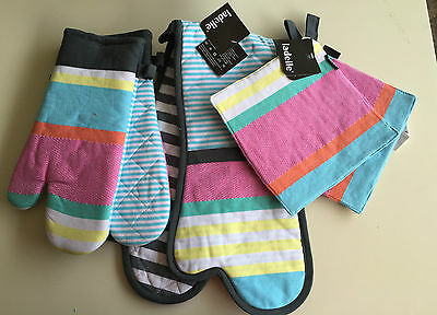 Elliot Stripe 2 Pot Holder, 2 Oven Glove and Double Oven Glove Set by Ladelle