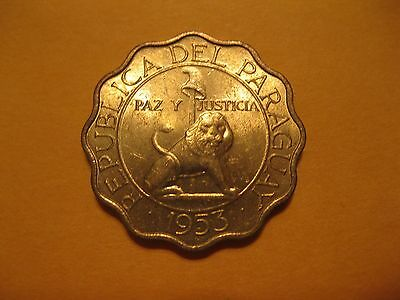 1953   Paraguay coin   50 Centimo    LION    BU coins very  sweet coins