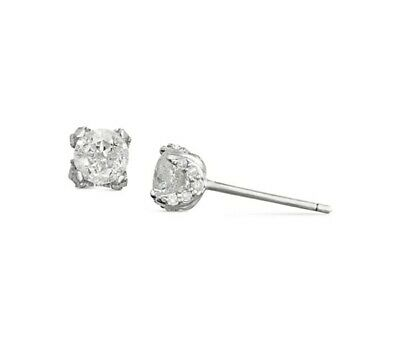 Mother's Day 3/4 ct tw Real Natural Diamond Pave Stud Earrings In 14k White Gold