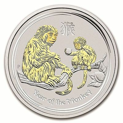 2016 Australia Lunar Year of the Monkey GILDED Edition 1oz SIlver $1 Coin w/ COA