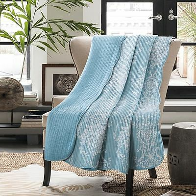 NEW Macey and Moore Paisley Blue Throw 100% COTTON 150x200cm