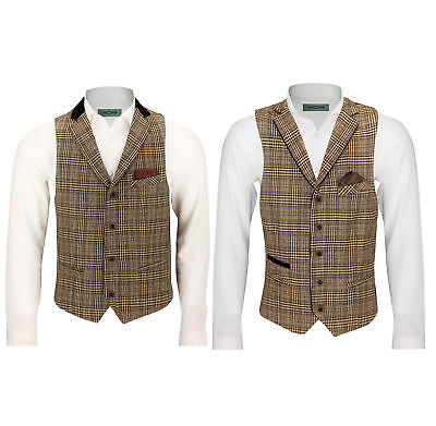 Mens Brown Tweed Check Slim Vintage Waistcoat Red Velvet Collar Trim Casual Vest