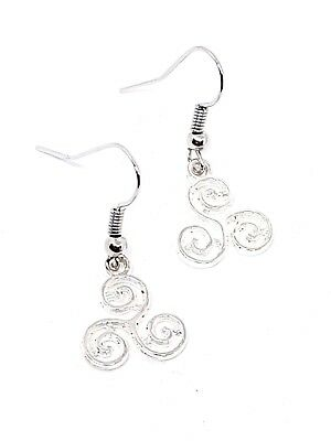 Triskelion Earrings Triskele Celtic Pagan Wiccan BDSM Symbol Drop Dangle Earring