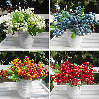 Nob Artificial Floral Berry Leaf Fake Flower Bouquet Home Wedding Party Decor
