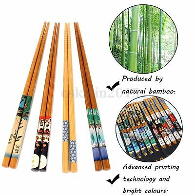 5 Pairs Natural Bamboo Wood Japanese Painting Chopsticks Value Dinner Reusable