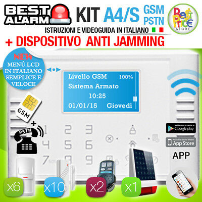 ANTIFURTO KIT A4S ALLARME CASA WIRELESS 433 Mhz GSM PSTN TOUCH  - ANTIJAMMING