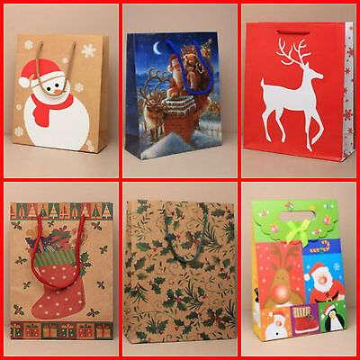 Pack of 12 Medium Assorted Mixed Christmas Gift Bags Xmas Present Party Bags