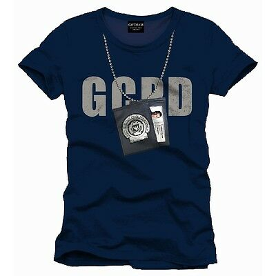 Official Dc Comics Batman Gotham City Police Badge Chain Navy T-Shirt (New)