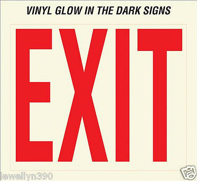 "GLOW IN THE DARK Self Adhesive HY-KO plastic EXIT Sign  Lot (10) 10"" x  12"" EE-3"