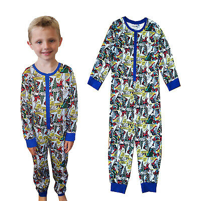 Official Marvel Boys Spider-Man All In One Kids Comic Book Print PJ Sleepsuit