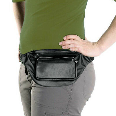 Black Leather Fanny Pack, Waist Bag, Genuine Leather, NEW