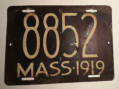 1919 Massachusetts Motorcycle License Plate Tag 8852 Mass MA