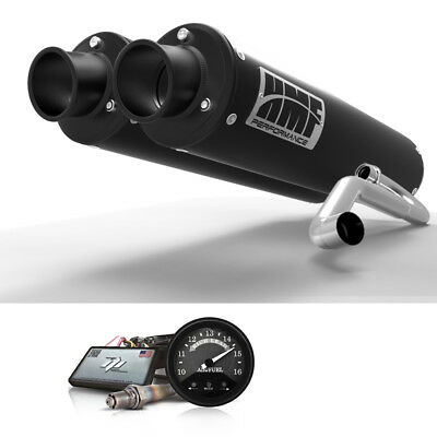 HMF Can-Am Commander 1000 2014 2015 Black/Blk Dual 3/4 Exhaust Outer Mnt AFR+4
