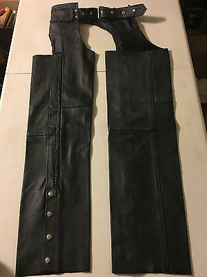 Nice Thick Black Genuine Leather Unisex Motorcycle Biker Chaps Sz SMALL RM